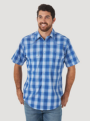 Men's Wrinkle Resist Short Sleeve Western Snap Plaid Shirt