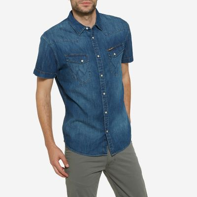 Men's Born Ready Western Snap Short Sleeve Denim Shirt