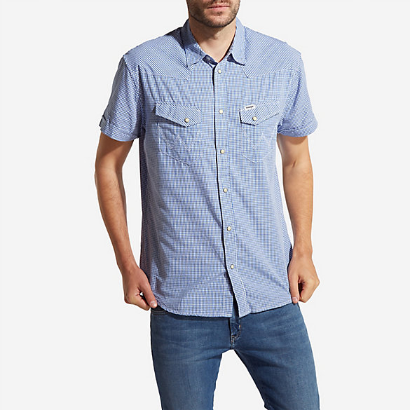 Men's Wrangler® Born Ready Short Sleeve Western Snaps Check Shirt