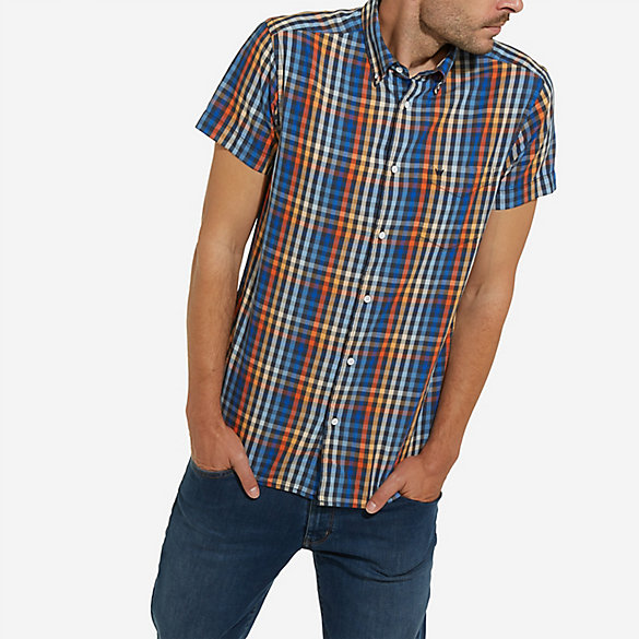 Men's Wrangler® Born Ready Short Sleeve Button Down Sunrise Shades Plaid Shirt