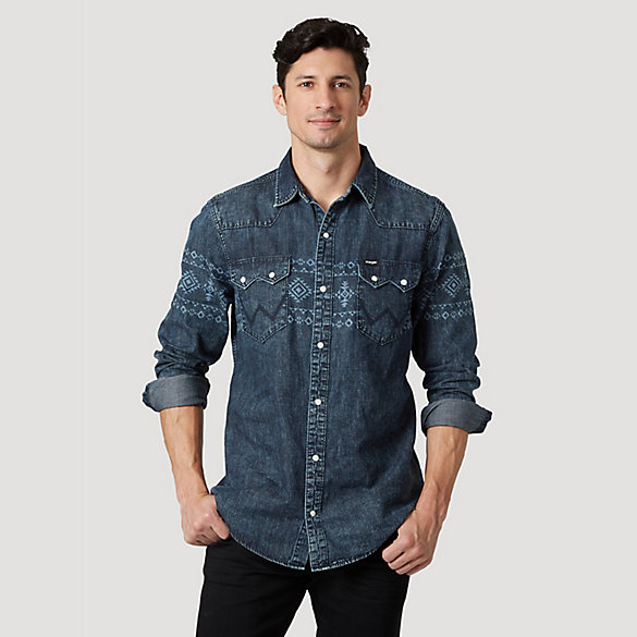Men's Wrangler® Laser Print Western Denim Shirt