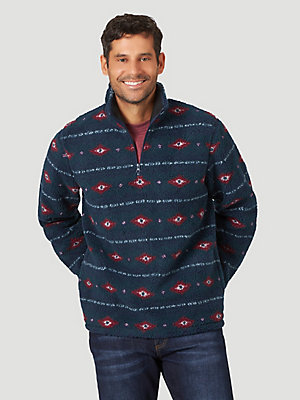Men's Wrangler® Long Sleeve Quarter-Zip Sherpa Pullover