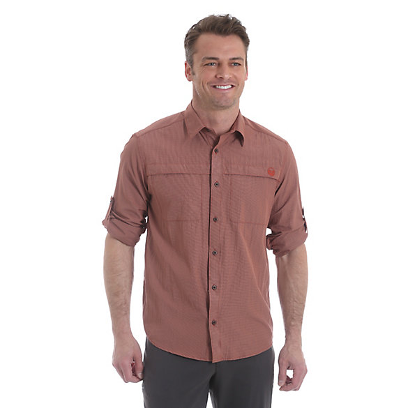 Men's Wicking  Roll Tab Sleeve Button Down Utility Solid Shirt