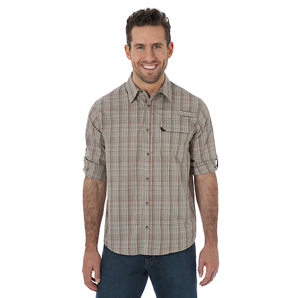 Wrangler® Long Sleeve Utility Plaid Shirt - Vintage Khaki (Big Sizes)