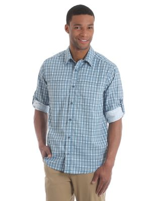 Men S Wicking Roll Tab Sleeve Button Down Utility Plaid