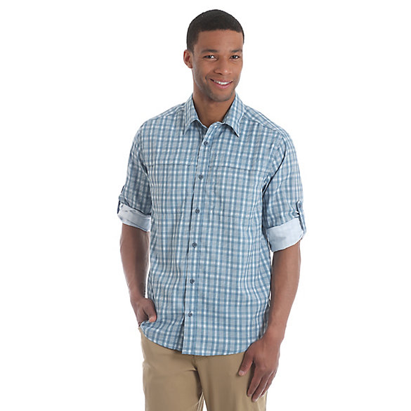 Men's Wicking Roll Tab Sleeve Button Down Utility Plaid Shirt (Big Sizes)