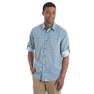 53b7a319915b Men's Long Sleeve Western Snap with Slanted W Pockets Denim Shirt ...