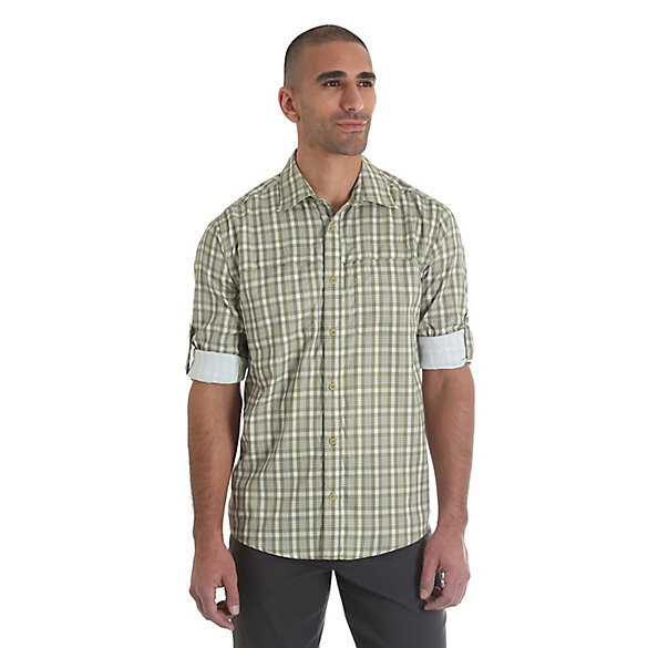 Men 39 s wicking roll tab sleeve button down utility plaid for Men s roll tab sleeve shirts