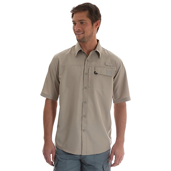 Men's Short Sleeve Button Down One Pocket Solid Utility Shirt