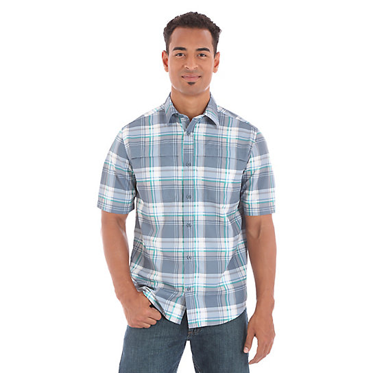 Men's Utility Short Sleeve Button Down Plaid Shirt (Big Sizes)