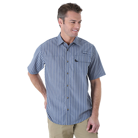 Wrangler® Short Sleeve Plaid Utility Shirt (Big Sizes)