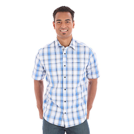 Men's Utility Short Sleeve Button Down Plaid Shirt (Big & Tall)