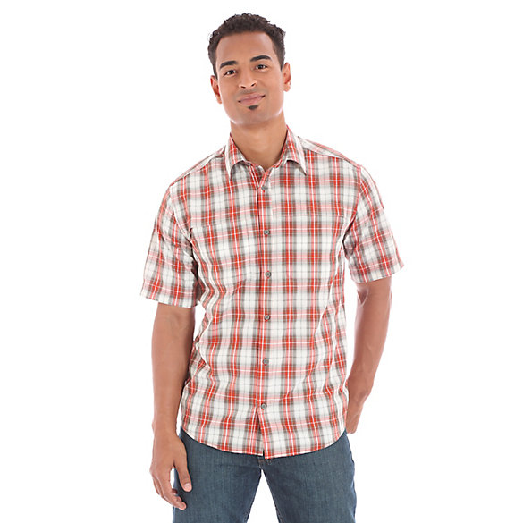 Men 39 s utility short sleeve button down plaid shirt mens Short sleeve plaid shirts