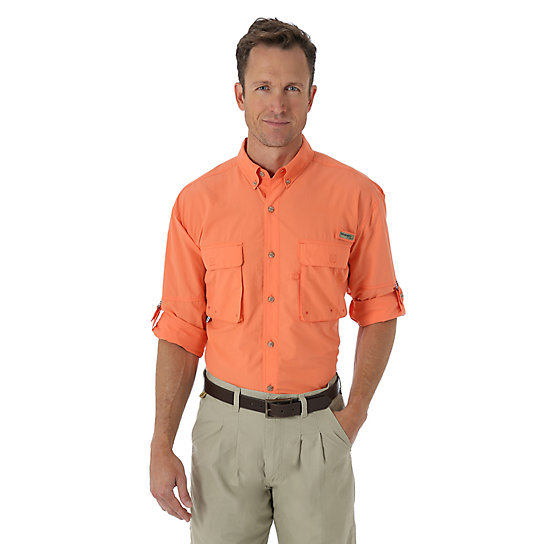 Wrangler progear long sleeve button down angler solid for Big and tall button up shirts