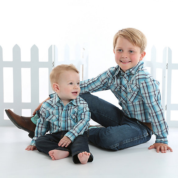 Baby Boy Long Sleeve Plaid Western Snap Shirt