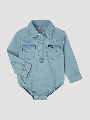 Baby Boy Long Sleeve Denim Bodysuit with Western Snap Placket