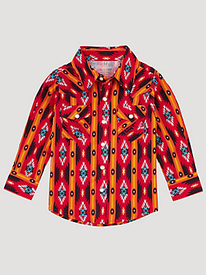 Baby Boy Long Sleeve Snap Front Checotah Print Western Shirt