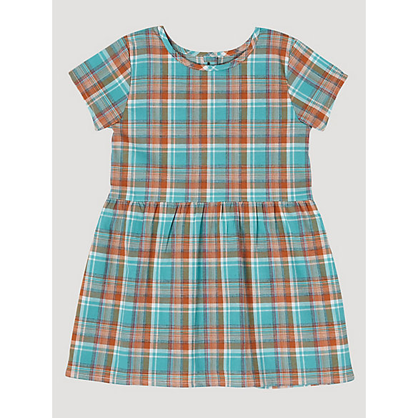 Baby Girl Short Sleeve Plaid Button-Back Dress