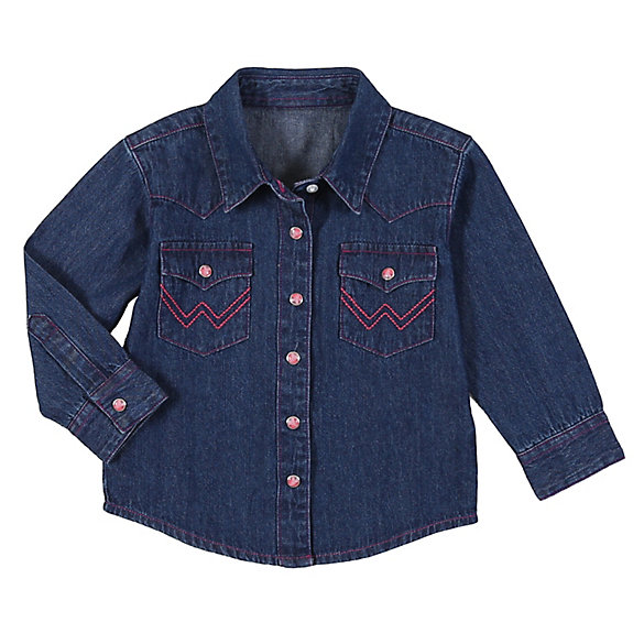 Baby Girl Long Sleeve Western Snap Denim Shirt