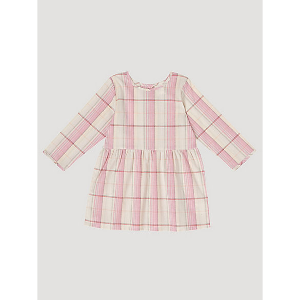 Baby Girl Long Sleeve Plaid Button-Back Dress