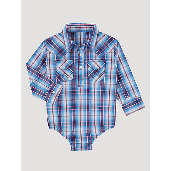Toddler Boy Long Sleeve Plaid Bodysuit with Western Snap Placket