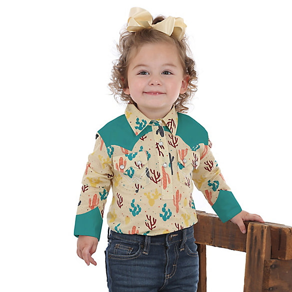 Baby Girl Long Sleeve Cactus Print Western Snap Bodysuit