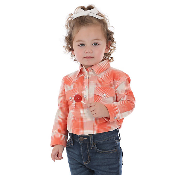 Baby Girl Long Sleeve Plaid Bodysuit with Western Snap Placket