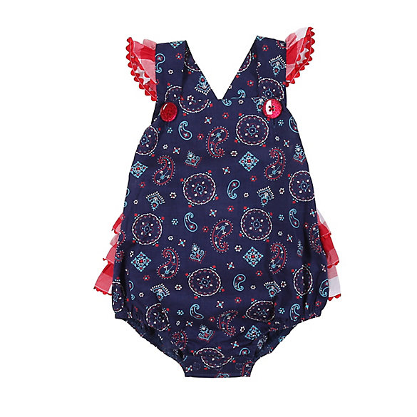 Baby Girl Sleeveless Print Romper with Ruffle Edge
