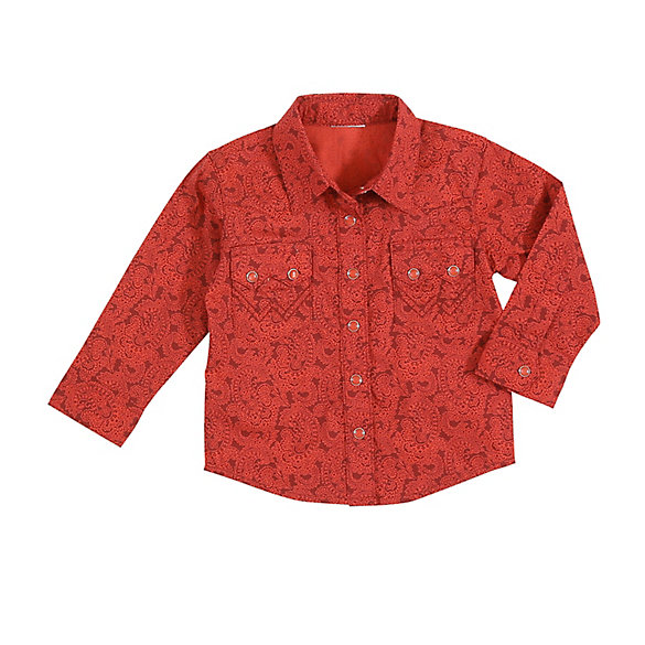 Baby Boy Long Sleeve Printed Western Snap Shirt