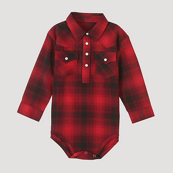 Baby Boy Long Sleeve Plaid Bodysuit with Western Snap Placket
