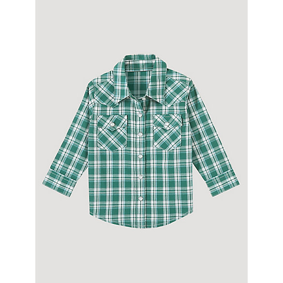 Toddler Boy Long Sleeve Western Snap Plaid Shirt