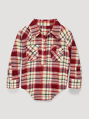 Baby Girl Long Sleeve Flannel Plaid Bodysuit