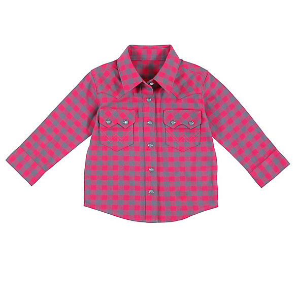 Toddler Girl Long Sleeve Western Snap Buffalo Plaid Flannel Shirt
