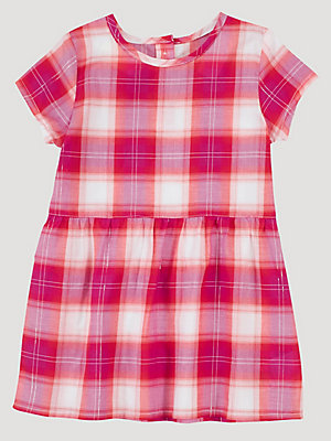 Baby Girl Short Sleeve Button Back Plaid Dress