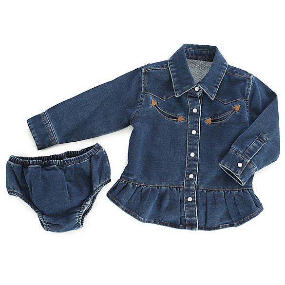 Baby Girl Long Sleeve Western Denim Two-Piece Set
