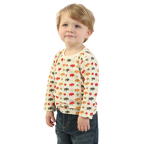 Baby Boy Wrangler® Long Sleeve Buffalo Print Thermal Shirt