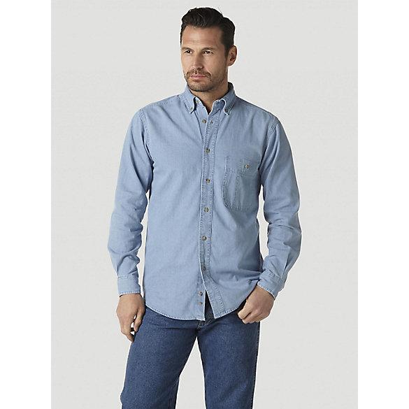 Wrangler Rugged Wear 174 Denim Basic Shirt Mens Shirts By