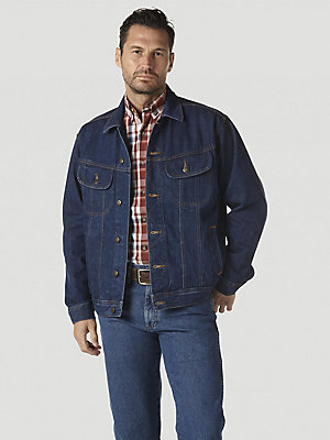 Blue 3X Wrangler Mens Big and Tall Flannel Lined Denim Jacket