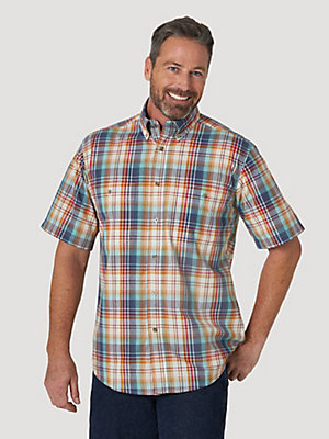 Wrangler Rugged Wear® Short Sleeve Easy Care Plaid Button-Down Shirt