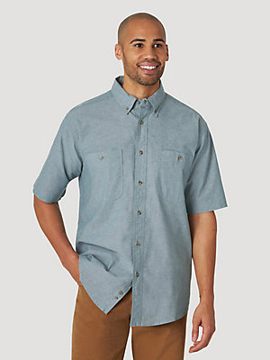 Wrangler Rugged Wear® Short Sleeve Advanced Comfort Chambray Button-Down Shirt