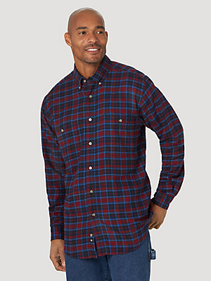 Wrangler Rugged Wear® Long Sleeve Flannel Plaid Button-Down Shirt