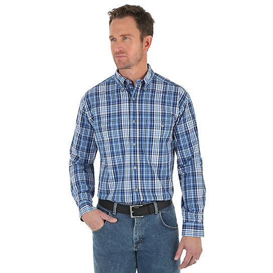 Men 39 s wrangler rugged wear long sleeve button down collar for Mens tall button down shirts