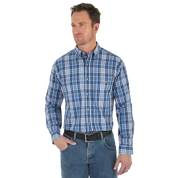 Men 39 s wrangler rugged wear long sleeve button down plaid for Mixed plaid shirt mens