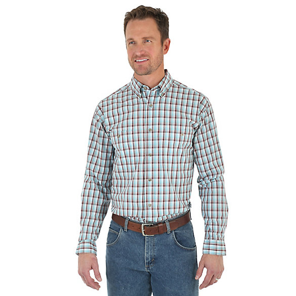 Men 39 s wrangler rugged wear long sleeve button down plaid for Tall button down shirts