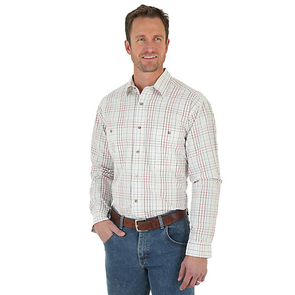 Men's Wrangler Rugged Wear® Long Sleeve Spread Collar Plaid Shirt (Big & Tall)