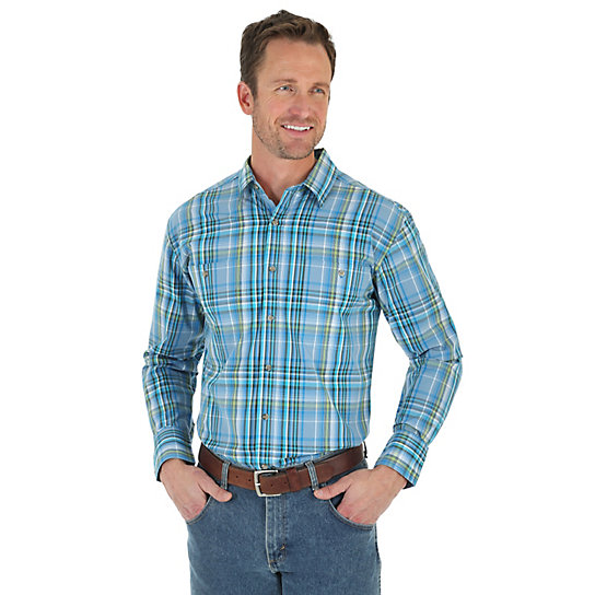 Men's Wrangler Rugged Wear® Wicking Long Sleeve Button Down Two Pocket Plaid Shirt (Big & Tall)