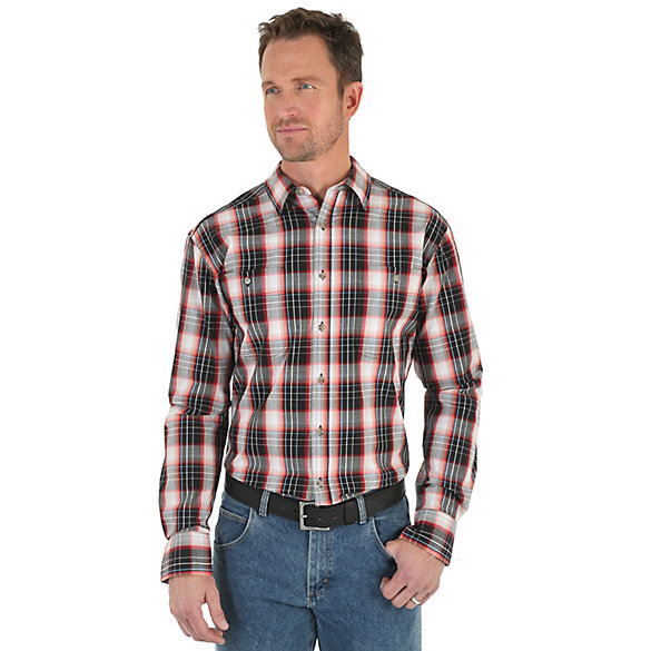 Men's Wrangler Rugged Wear® Wicking Long Sleeve Button Down Two Pocket Plaid Shirt
