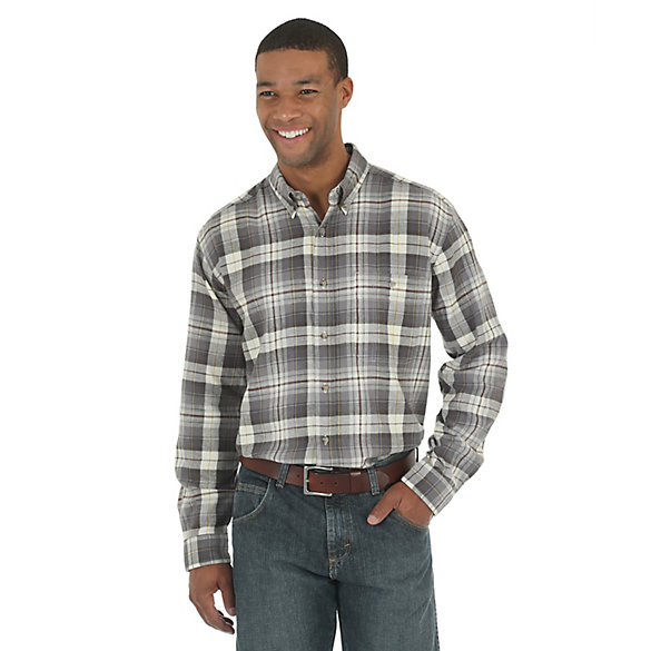 Men's Wrangler Rugged Wear® Blue Ridge Flannel Long Sleeve Button Down Plaid Shirt (Big & Tall)