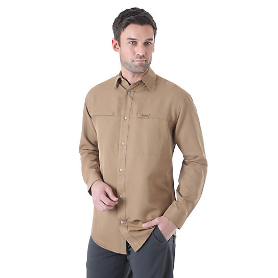 Wrangler Rugged Wear® All-Terrain Long Sleeve Button Down Performance Solid Shirt