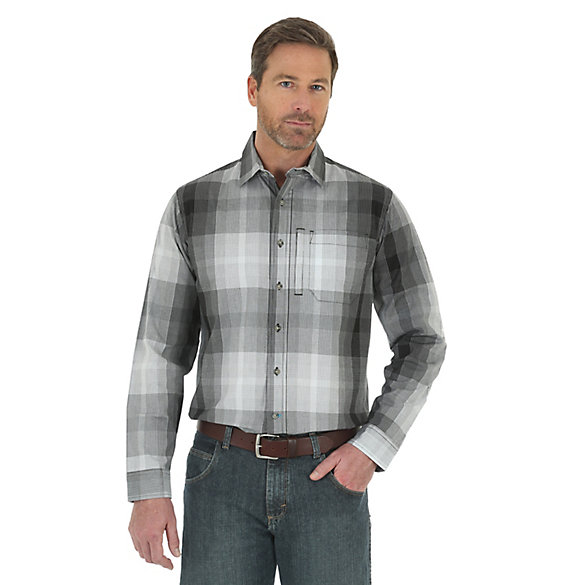 Men's Wrangler Rugged Wear® Performance Wicking Long Sleeve Button Down Plaid Shirt (Tall Sizes)